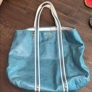 Blue Miu Miu Tote Bag